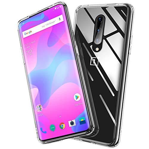 BANNIO Hülle Kompatibel mit OnePlus 7 Pro,Durchsichtige 9H Hartglas Handyhülle,Kratzfeste mit Weichem TPU Bumper Glashülle Schutzhülle Case für OnePlus 7 Pro -Crystal Clear