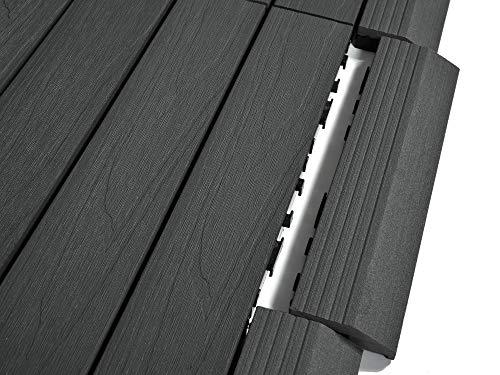 Dura Deck Fliesen Resist | 15 x Verbundfliesen-Auffahrrampen | solide WPC ineinandergreifend Wasser- und UV-beständig | schnelle Installation | Kieselgrau