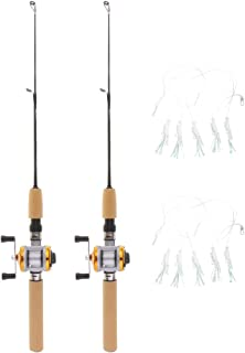 Perfeclan Pack of 2pcs Micro Telescopic Ice Fishing Rod with Baitcasting Reel Travel Rod 75cm