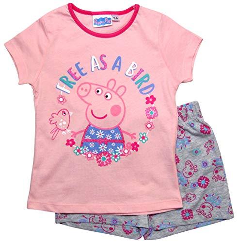 Peppa Wutz Schlafanzug Shorty Mädchen Kurz Peppa Pig (Rosa-Grau, 104)
