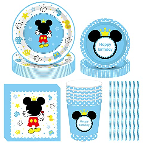 Amycute Vajilla de Cumpleaños de Niños de Mickey, 69Pcs Vajilla Set de Mickey Mouse para Cumpleaños Party Decoration Baby Shower, Incluye Platos Vasos Servilletas Pajas