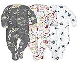 Photo de Sibinulo Garçons Filles Pyjama Bébé Grenouillere ABS Lot de 3 Voitures Cosmos et étoiles 80(9-12 Mois) par