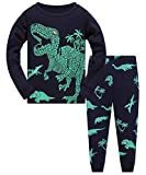 Boys Pyjamas for Kids Dinosaur Pjs Sets Cotton Toddler Clothes Long Sleeve Sleepwear Nightwear 2 Piece Outfit Age 1-8 Years (04 Deep Blue, 4-5 Years)