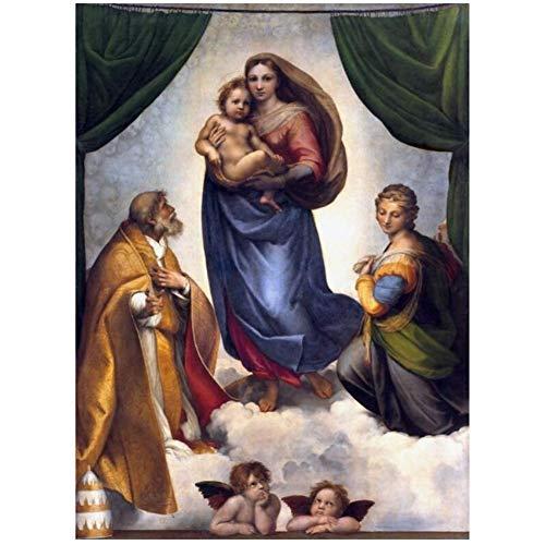 NRRTBWDHL Berühmte Gemälde Raphael Sixtinische Madonna Poster und Drucke Wandkunst Leinwand Gemälde Madonna von Jesus Bild an der Wand Dekor -50x70cm Kein Rahmen