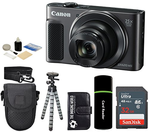 Canon PowerShot SX620 HS 20.2MP Digital Super 25x Optical Zoom Camera (Black) + SanDisk 32GB Card + Case + Tripod - 32GB Deluxe Accessories Bundle