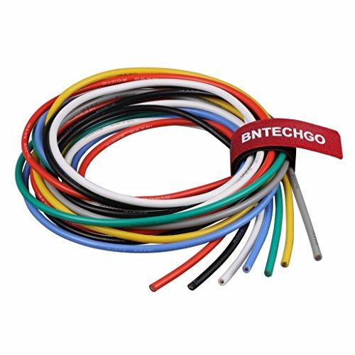 BNTECHGO Kit de alambre de silicona ultra flexible de aislamiento de goma de silicona estañado alambre trenzado de cobre, 14 silicone wire each color 3 ft, alambre de silicona 7 colores