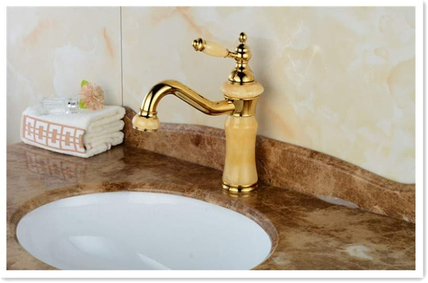 BBQBQQY golden Topaz marble faucet in the lower basin of antique jade faucet
