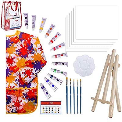 Paint Easel Kids Art Set- 28-Piece Acrylic Painting Supplies Kit with Storage Bag, 12 Non Toxic Washable Paints, 1 Scratch Free Wood Easel, 6 Blank Canvases 8 x 10 inches, 5 Brushes, 10 Well Palette
