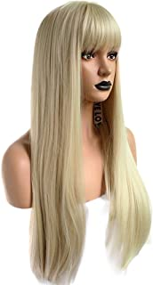 Anogol Hair Cap+Blonde 613 Wig Synthetic Hair With Bangs Fringe Long Natural Wavy Wigs For Women