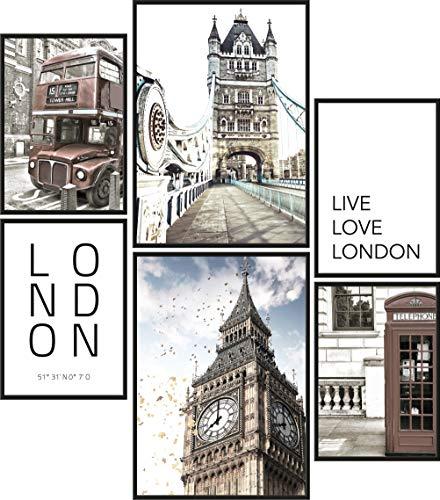 Papierschmiede® Mood-Poster Set Londres | Cuadros como decoración de Paredes | Living y Dormitorio | 2X A3 y 4X A4 | Big Ben Tower Bridge - sin Marco