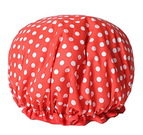 Huachnet Waterproof Double Layers Women's Shower Caps (Rose Dot)