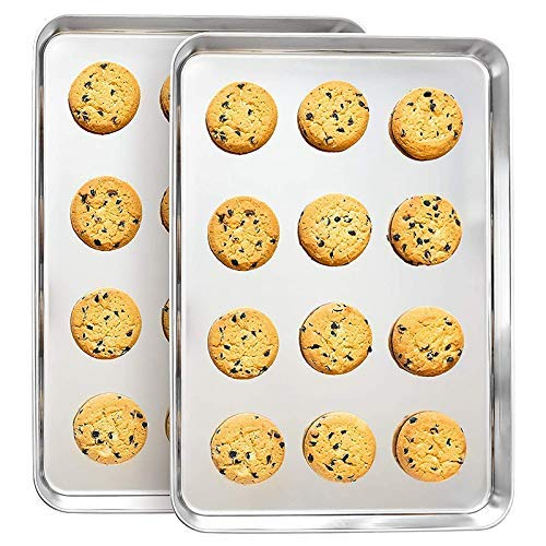 ZYL-YL Stainless Steel Baking Trays (Set of two) – Professional Half-Sheet Cooking, Cookie, Roast Pans – Smooth Mirror Finish