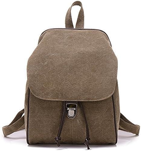 Freizeit Rucksack reine Farbe Retro Double Shoulder Bag college Segeltuch Tasche einfach Dame Reisetasche, Kaffee