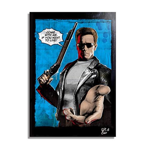 Terminator T-800 (Schwarzenegger) de la película Terminator 2 (James Cameron) - Pintura Enmarcado Original, Imagen Pop-Art, Impresión Póster, Impresion en Lienzo, Cuadro, Cómics, Cartel de la Película