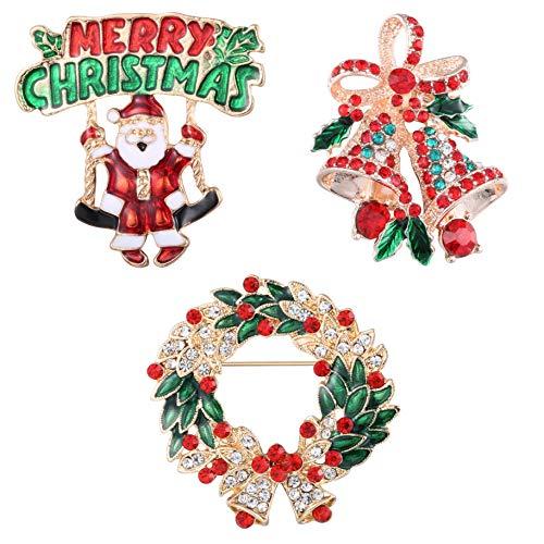 CASSIECA 3-4 sztuki Boże Narodzenie broszka zestaw przypinek dla kobiet dzieci uroczy kryształ diament emalia Boże Narodzenie biżuteria prezent w tym czerwony dzwonek biały poroże choinka wieniec bałwan broszka szpilki e stop, colore: Czerwony, cod.
