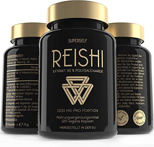 Reishi Extrakt Kapseln Hochdosiert - 120 Kapseln - 1500mg Reishi Pilz pro Tagesdosis - 30% Bioaktive Polysaccharide - Ganoderma Lucidum - Vegan, Laborgeprüft & Hergestellt gemäß ISO 22000