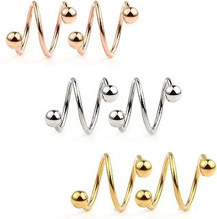 Ruifan 16G Stainless Steel Double Twist Ear Plug Earring Spiral Helix Stud Lip Ring Body Piercing Jewelry 8mm 10mm