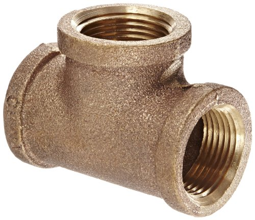 Anderson Metals 38101 Red Brass Pipe Fitting, Tee, 3/4 x 3/4 x 3/4 Female Pipe