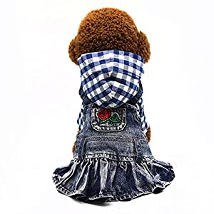 SILD Pet Clothes Dog Jeans Dress Classic Hoodie Stripe Dress for Small Medium Dog Cat Adorable Puppy Outfits