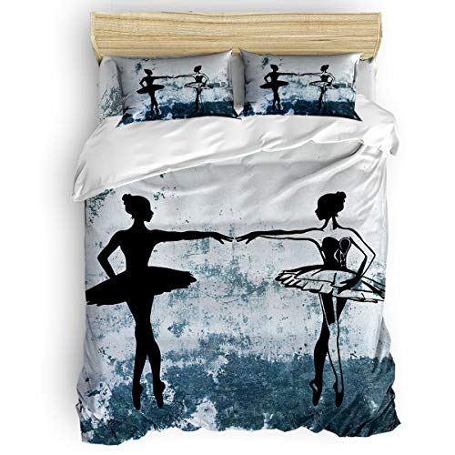 Arts Language Bedding Duvet Cover Set King Size 4 Pieces 1 Duvet Cover 1 Flat Sheet 2 Pillowcases Breathable All Season Ballerina on Shabby Wall Background Comforter Cover Set for Kids Boys Girls