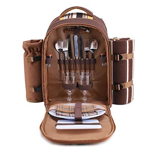 apollo walker Picknickrucksack für 2 Personen Picknick Rucksack Hamper Kühltasche mit Geschirr Set & Decke