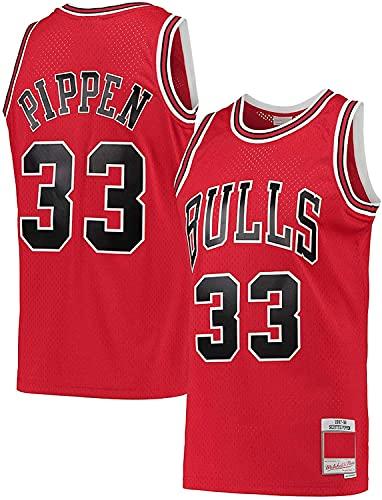 Baloncesto 33# Aways Massifless Chicago Bulls Basketball Jersey Sports Scottie Pippen Basketball Jersey Ropa de Hombre Ropa de Hombre Cuello Redondo Chaleco Jersey (Color : Red, Size : L)