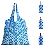HOLYLUCK set of 3 Reusable Grocery Bags,Heavy Duty Foldable Shopping Bag-sky blue