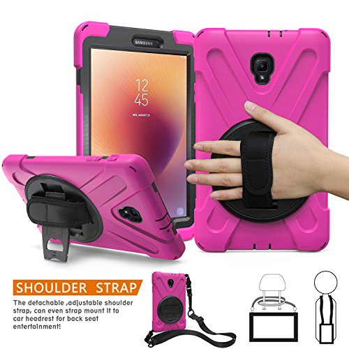BRAECNstock Samsung Galaxy Tab A 8.0 2017 Case Full-Body Rugged Protective Case with 360 Degree Rotatable Hand Strap/Built-in Kickstand for Samsung Galaxy Tab a 2017 8.0'(New) T380/T385 Case/Rose Red