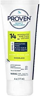 Proven 14 HR Insect Repellent Lotion – Odorless, 6 oz; Protects Against Mosquitoes, Ticks and Flies; DEET Free, Non-Toxic; Safe for Children; Made in USA
