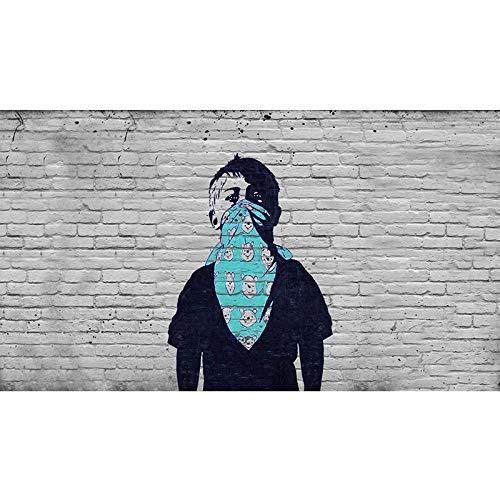 Impresiones De Lienzo Decoración De La Pared,Niño Con Cara Bufanda Banksy Réplica Pared Arte Lienzo Impresión Revolución Protesta Adolescente Impresión Manta Con Osos Calle Arte Graffiti Cartel,