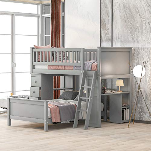 Merax Twin-Over-Twin Bunk Bed, Twin Loft Bed with 4 Storage Drawers, Desk and Shelves for Kids, Grey