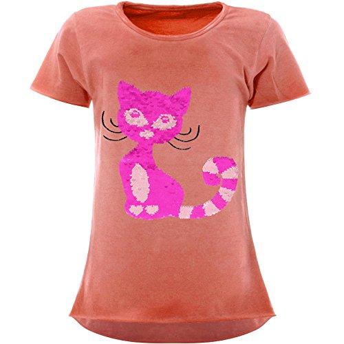 BEZLIT Mädchen Wende-Pailletten T-Shirt Katzen-Motiv Kurzarm 22492 Orange Größe 152