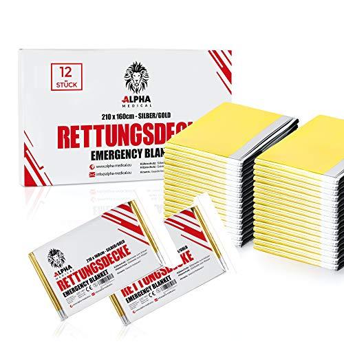 ALPHA MEDICAL® - 12 Stück - Premium Rettungsdecke Gold/Silber im Vorteilspack - 210 x 160cm - Erste Hilfe Decke - Notfalldecke als Käteschutz & Hitzeschutz - Aludecke - Notdecke - Wärmefolie