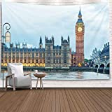 Pamime Wall Hanging Decorations,Winter Decorations Party Night Photo Big Ben London England United Christmas Fabric by The Yard,80X60 Inches Inhouse,Christmas Wall Tapestry