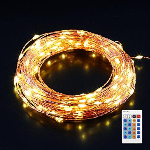 AUKEY LED Lichterkette 10 Meter 100 LEDs, Warmweißes Licht Wasserdicht, Kupterdraht Weihnachtsleuchte 10 Helligkeitsstufen mit Fernbedienung, sternenklar und romantisch Lampenkette für Weihnachten, Hochzeit, Party