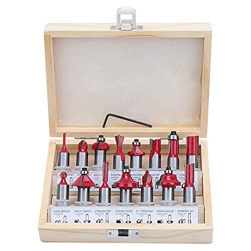 HSEAMALL 15 st 12,7 mm 1/2 tum skaft volframkarbid router bit set, TCT routerbits träbearbetning fräsverktyg för dörrar, bord, hyllor, skåp, DIY trä