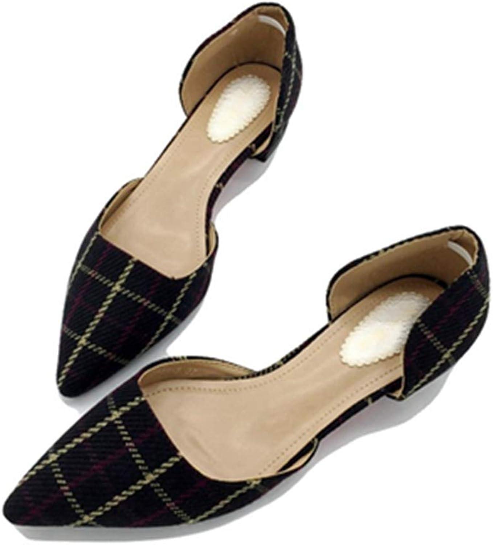 Kyle Walsh Pa Women Pumps shoes Block Heel Pointed Toe Female Plaid Slip-on Casual Footwear