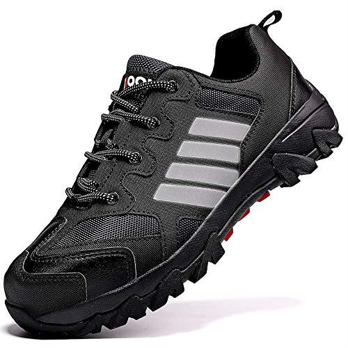 Zapatos de Seguridad para Hombre con Puntera de Acero Zapatillas de Seguridad Trabajo, Calzado de Industrial y Deportiva(B Negro,42 EU)