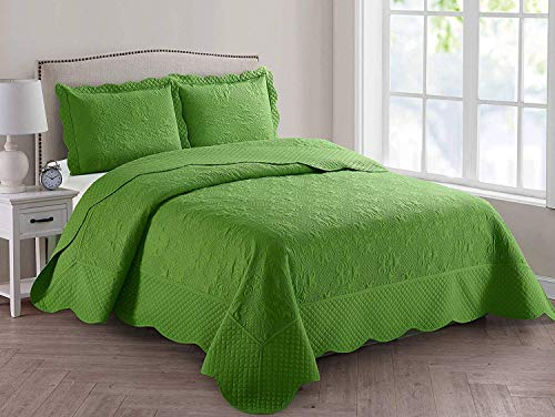 Better Home Style 3 Piece Luxury Ultrasonic Embossed Solid Quilt Coverlet Bedspread Oversized Bed Cover Set # Veronica (Full/Queen, Lime/Sage Green)