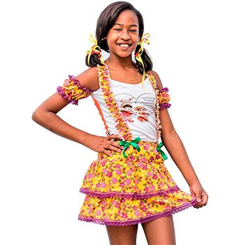 Vestido de Festa Junina Caipira Caipirinha Infantil Com Suspensório P 3-4