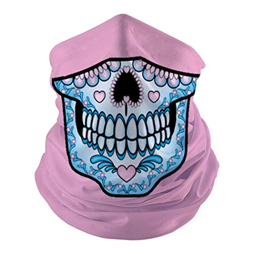 Suga-Skull-Pink & Blue Seamless Face Mouth Cover Scarf - Festival Outdoor Dust And UV Sun Protection Men Womens