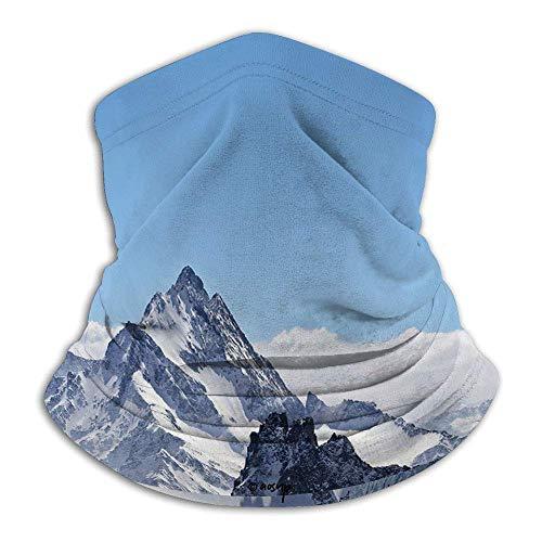 LAKILAN Decoración De Invierno,Picos De Montaña Nevados Tops Escena High Lands Icy Outdoor Art,Azul Blanco Paño De Manguera,Pañuelo para La Cabeza,Multiusos De Bandana,Polaina para Cuello,
