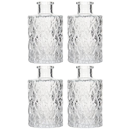 "Hosley Set of 4 Glass Diffuser Bottles - 4"" High. Premium Heavy Quality. Ideal for Use with Essential Oils, Hosley Replacement Diffusers & Hosley Reed Sticks, Diy, Crafts, Bud Vase O3"