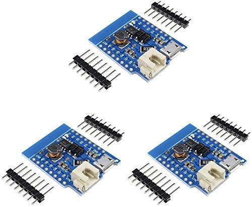 ZHITING 3 Pezzi per Wemos Battery Shield Micro USB Modulo di Ricarica per Batteria al Litio Singola con Pin Indicatore LED 5V 1A DC