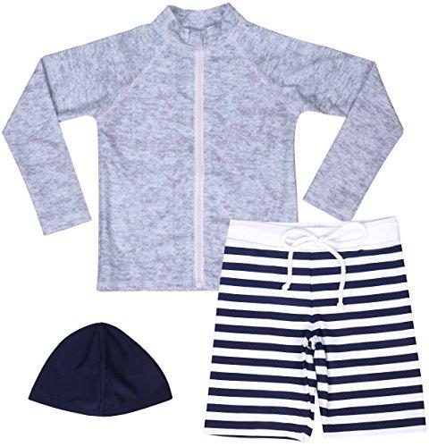 【Asbrio】水着 男の子 UPF50+ ボーダー柄パンツ グレーラッシュガード 帽子 90〜140cm (100)
