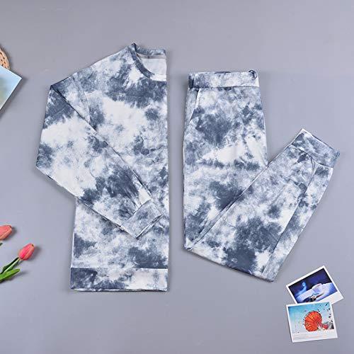 MoneRffi Women's Tie Dye Pyjama Set Round Neck Sleepwear Long Sleeve Pullover Tee Tops and Jogging Pants Bottoms Pjs Soft Tracksuit Set(D#Gray,XL)