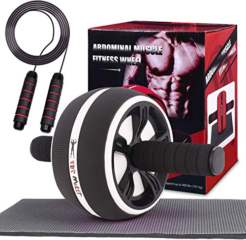 Risefit Ab Roller Wheel Set with Knee Mat and Jump Rope, for Abdominal Exercise Perfect Abdominal Core Strength Training Home Gym Fitness Equipment