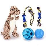 Nobleza – Pack de 5 Juguetes para Perro. Set Fabricado en Cuerda para morder. Incluye Bola de Entrenamiento para Comida