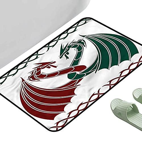 Soft Area Children Baby Playmats Celtic Mythical Dragons Intertwined 39' x 29' Rectangle Area Rugs