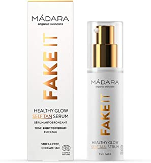 MÁDARA Organic Skincare | Fake It Healthy Glow Self Tan Serum For Face - 30ml, With Raspberry Seed Oil, Shea Butter, Mult...